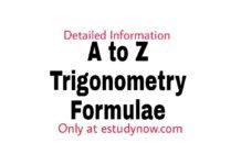 trigonometry formulas table