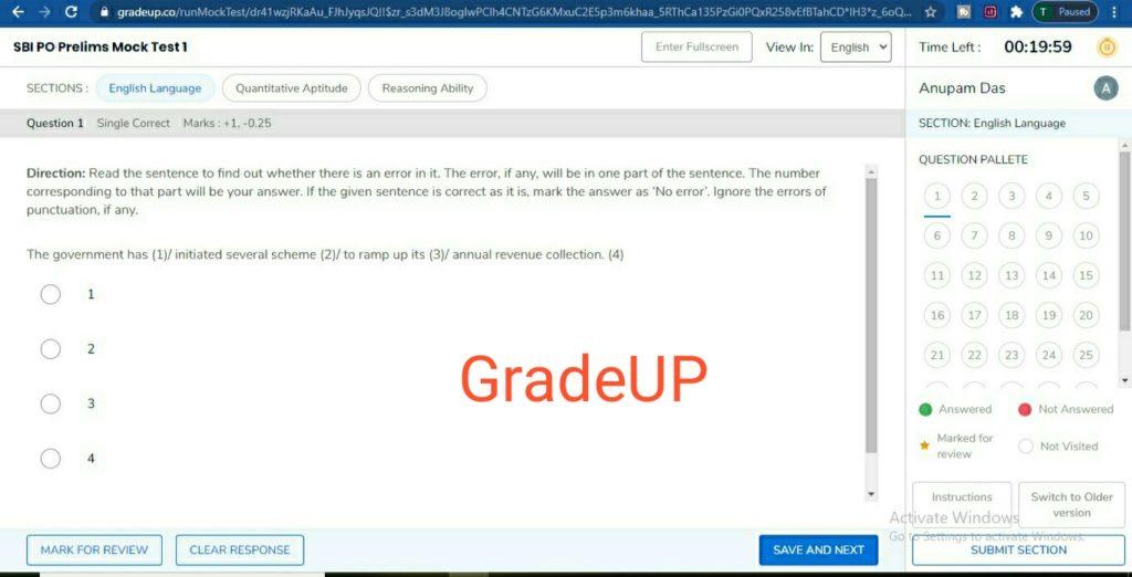 free online mock test at gradeup